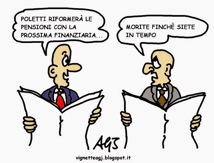 Poletti, pensioni, satira , vignetta