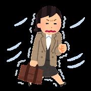 寒い中を歩く女性会社員のイラスト