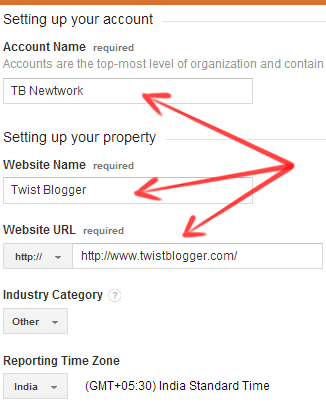 Provide Details To Setup Your Google Analytics Account