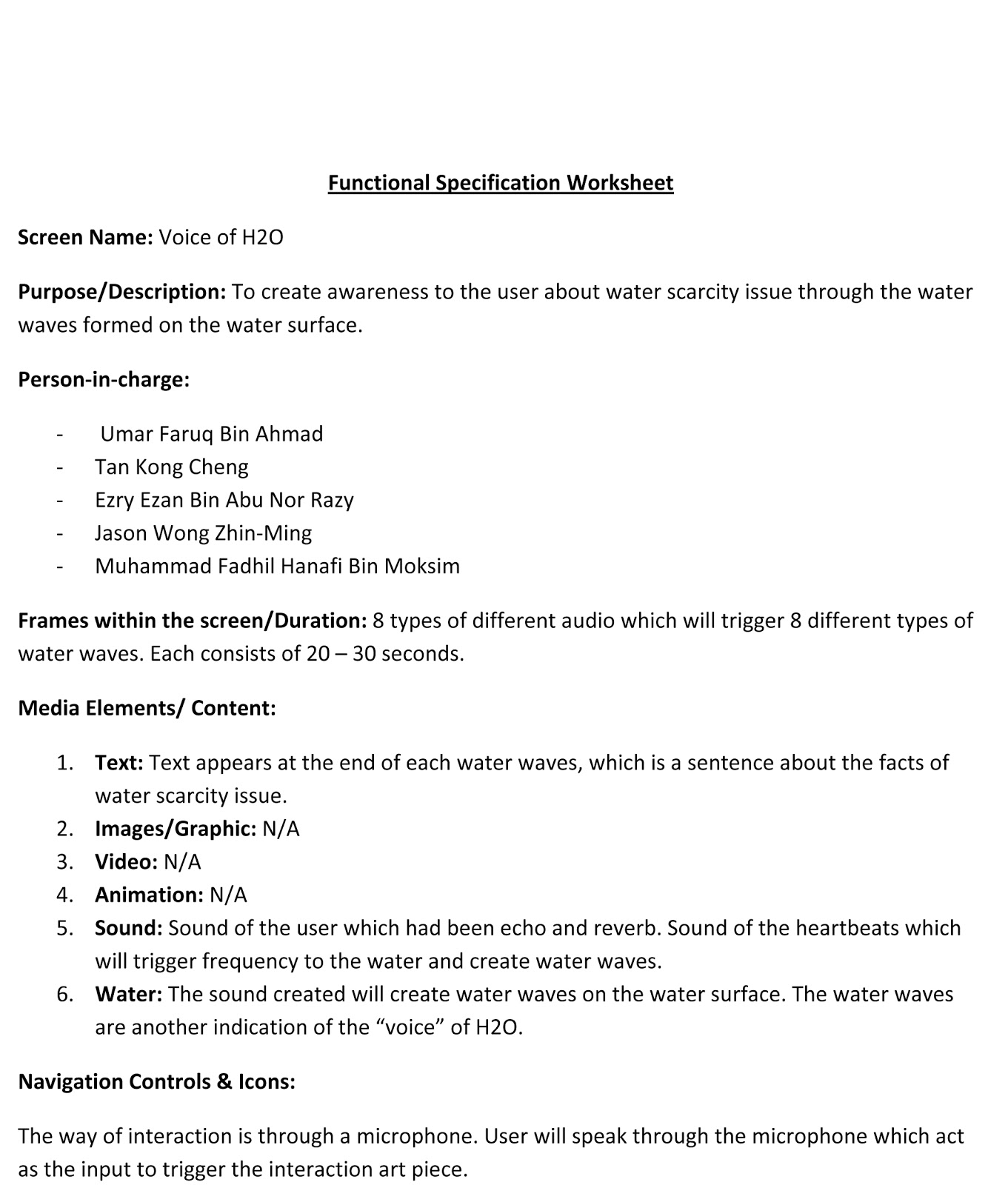 Media Art Design 4 Project 2 Stage 3 Functional Specification – Scarcity Worksheet