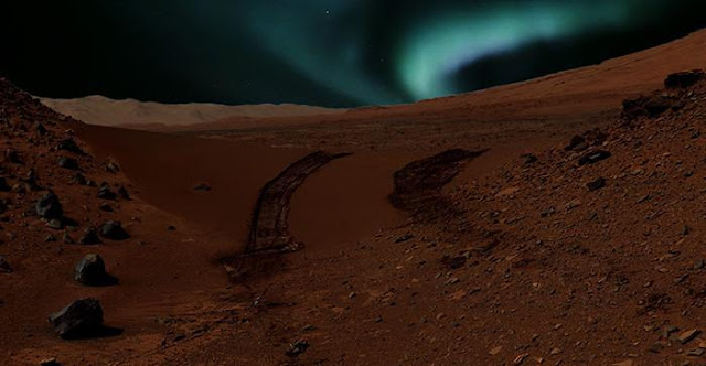 Blue aurorae on Mars: an artist interpretation of what aurorae may look like as seen by the NASA Curiosity rover, were it close to magnetic anomalies on Mars. Photomontage (c) NASA/JPL-Caltech/MSSS and (c) CSW/DB