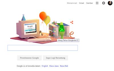 selamat ulang tahun google yang ke-17 sweet seventeen