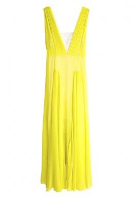 2014 tea length yellow sexy empire bridesmaid cream wedding dress