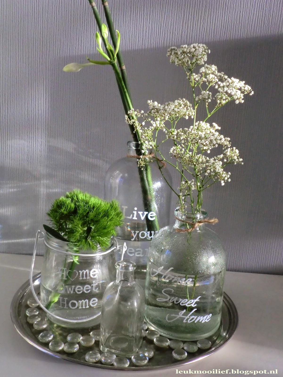 Leuk mooi lief flesjes en bloemen for Bloemen decoratie