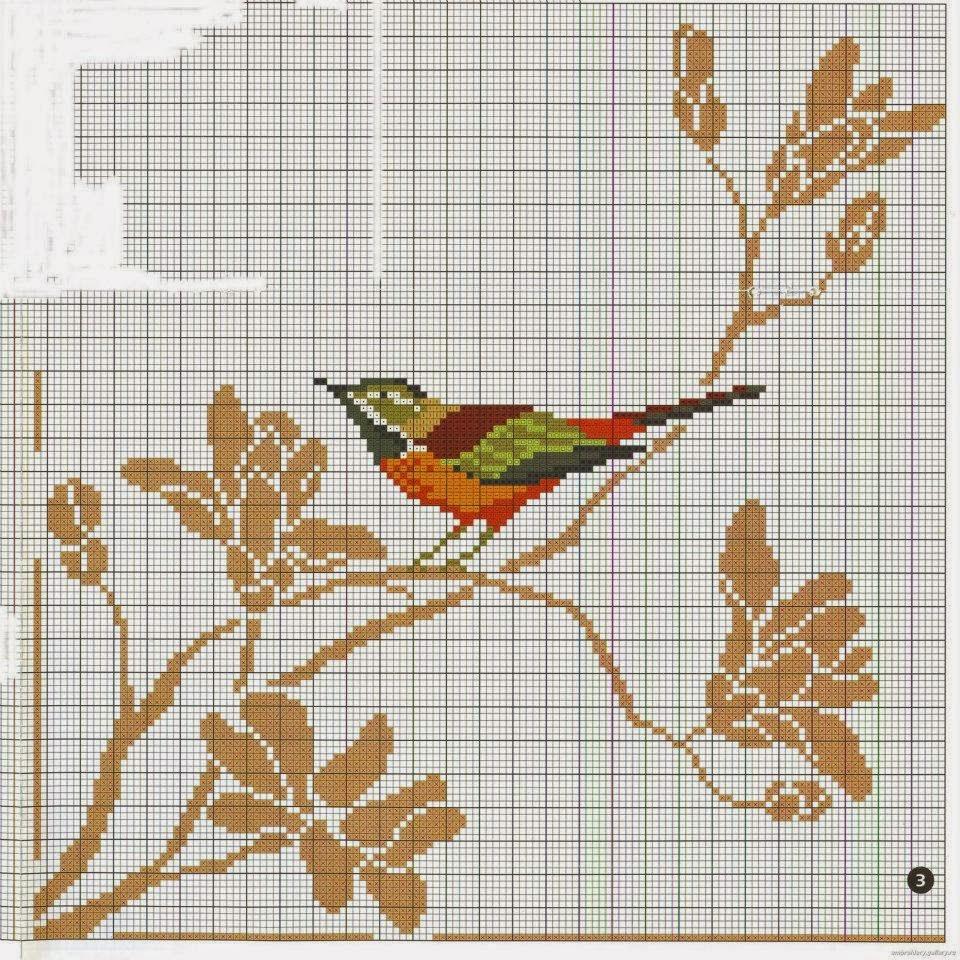 Вышивка птицы по крестикам 592