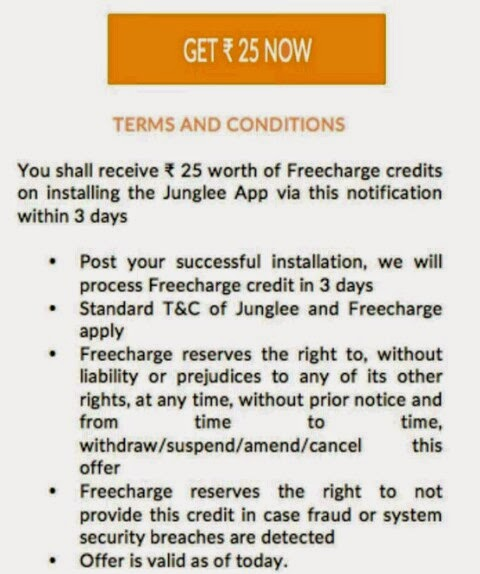 install junglee app to get rs 25 freecharge credits