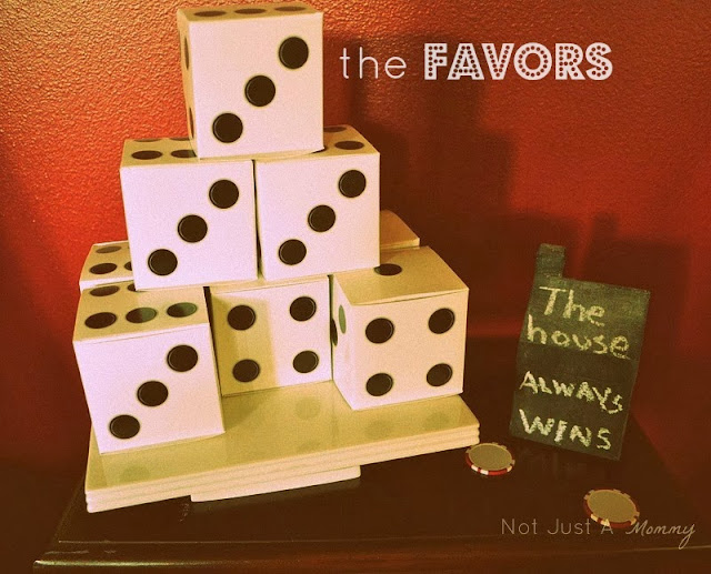 Ladies' Game Night Out dice favor boxes