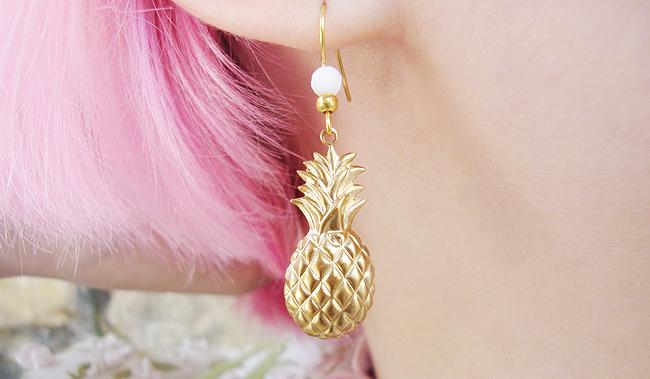 golden pineapple, earrings, quirky jewellery