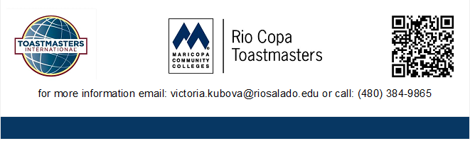 RioCopa footer, with Toastmasters International logo and mobile app bar-code