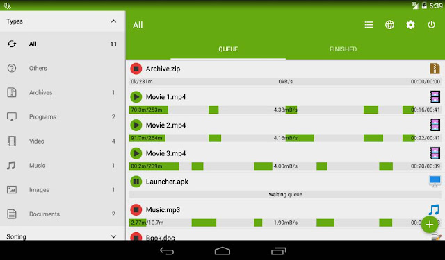 Antarmuka aplikasi advanced download manager