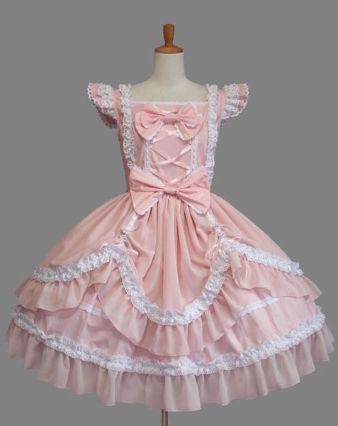Pink Bow and Lace Sweet Lolita Dress