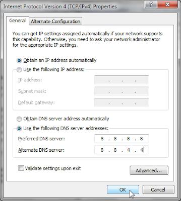 cara setting Public DNS Google