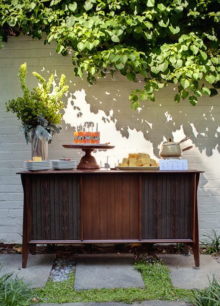 mid-century buffet reception garden party