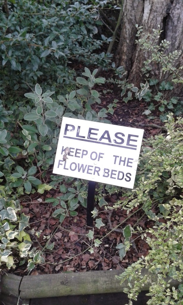Please Keep Of The Flower Beds - spotted at The Black Tiles pub in Martlesham, Woodbridge, Suffolk