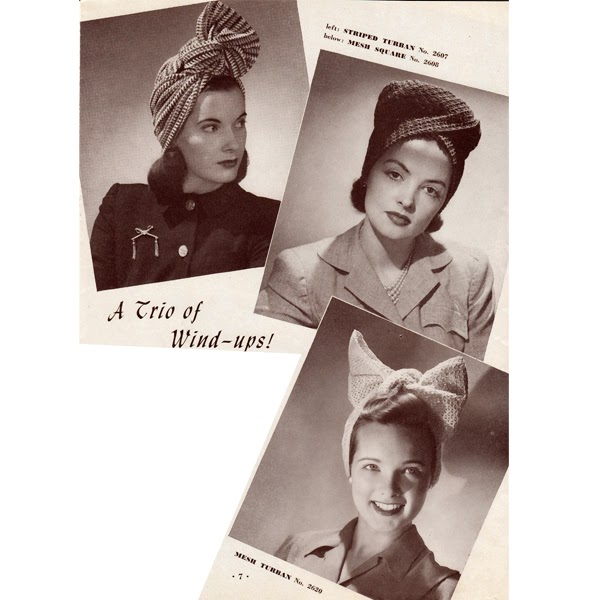 Three Crochet Hat Patterns, Vintage 1940s styled Turbans