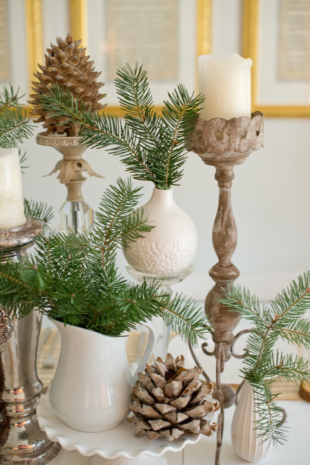 Domestic fashionista natural christmas tablescape Natural decorating