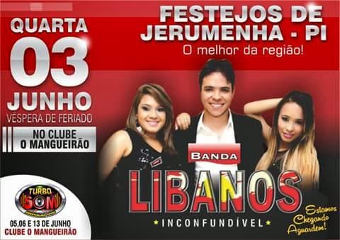 Dia 03 de Junho tem Banda Libanos em Jerumenha
