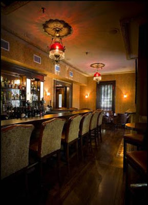 The bar area of haunted Forepaugh's Restaurant, a fine French restaurant in St. Paul, Minnesota