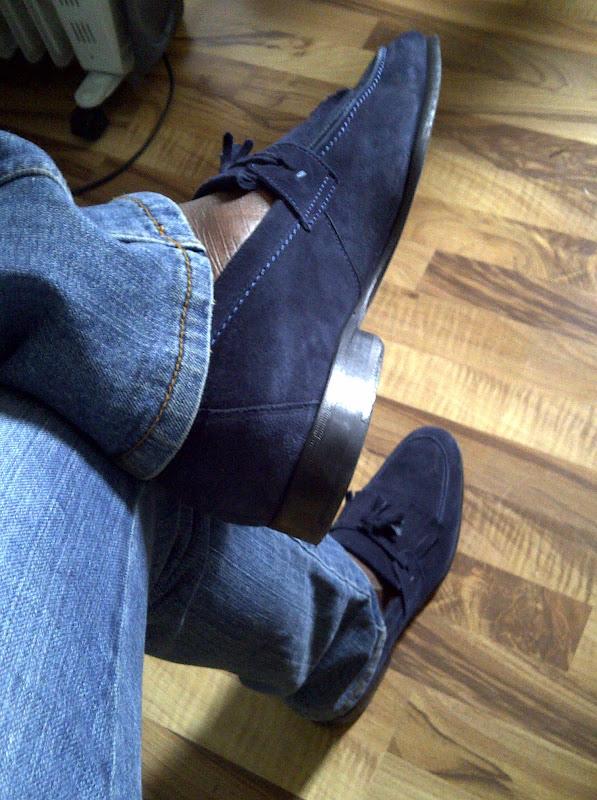 Zara Blue Tassel Loafers title=