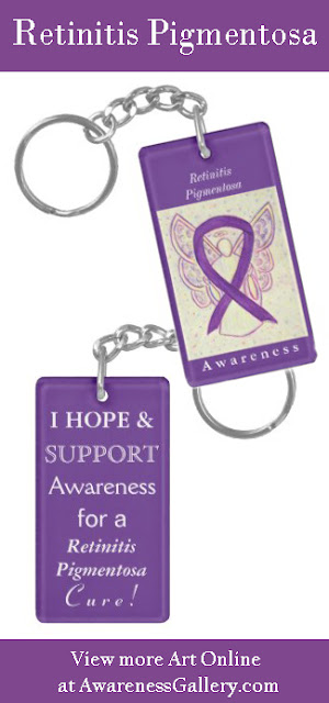 Retinitis Pigmentosa Purple Awareness Ribbon Angel Art Custom Keychain