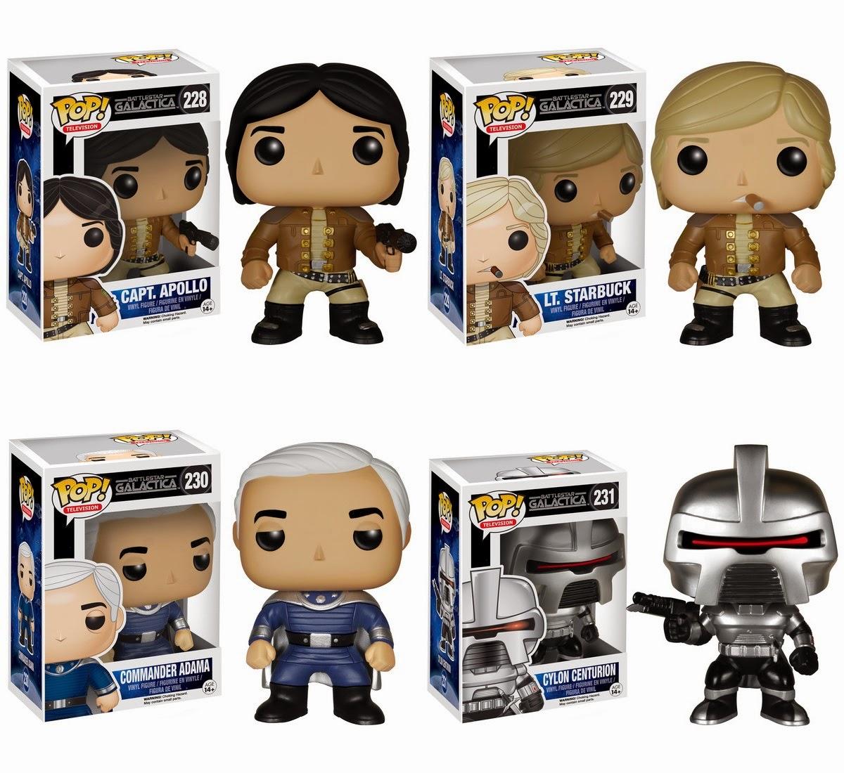 Battlestar Galactica Pop! Series 1 Vinyl Figures by Funko - Capt. Apollo, Lt. Starbuck, Commander Adama & a Cylon Centurion