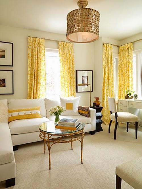 Salas en amarillo y blanco salas con estilo for Cortinas amarillas