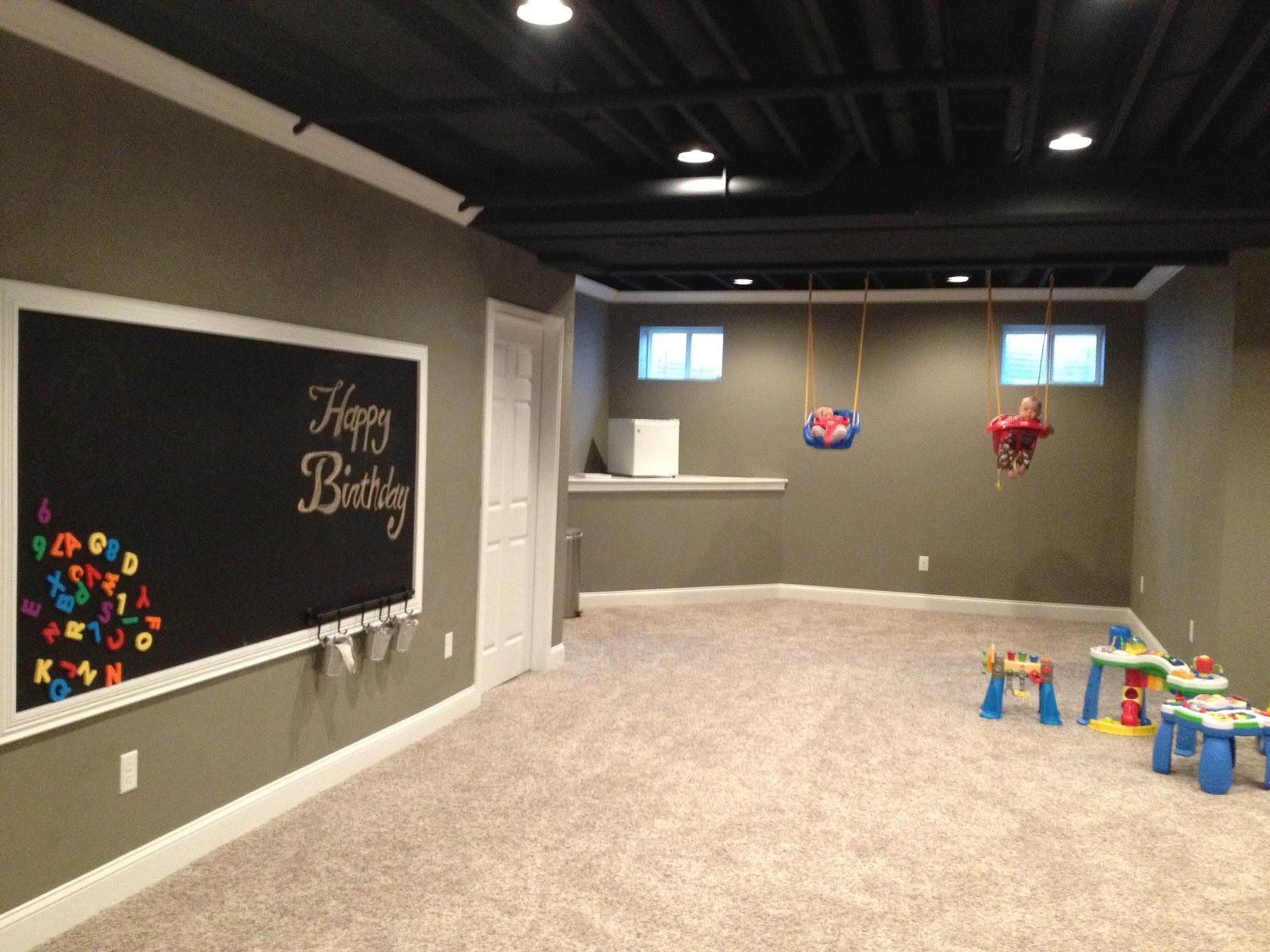 Basement finished ish my slush Basement ceiling color ideas
