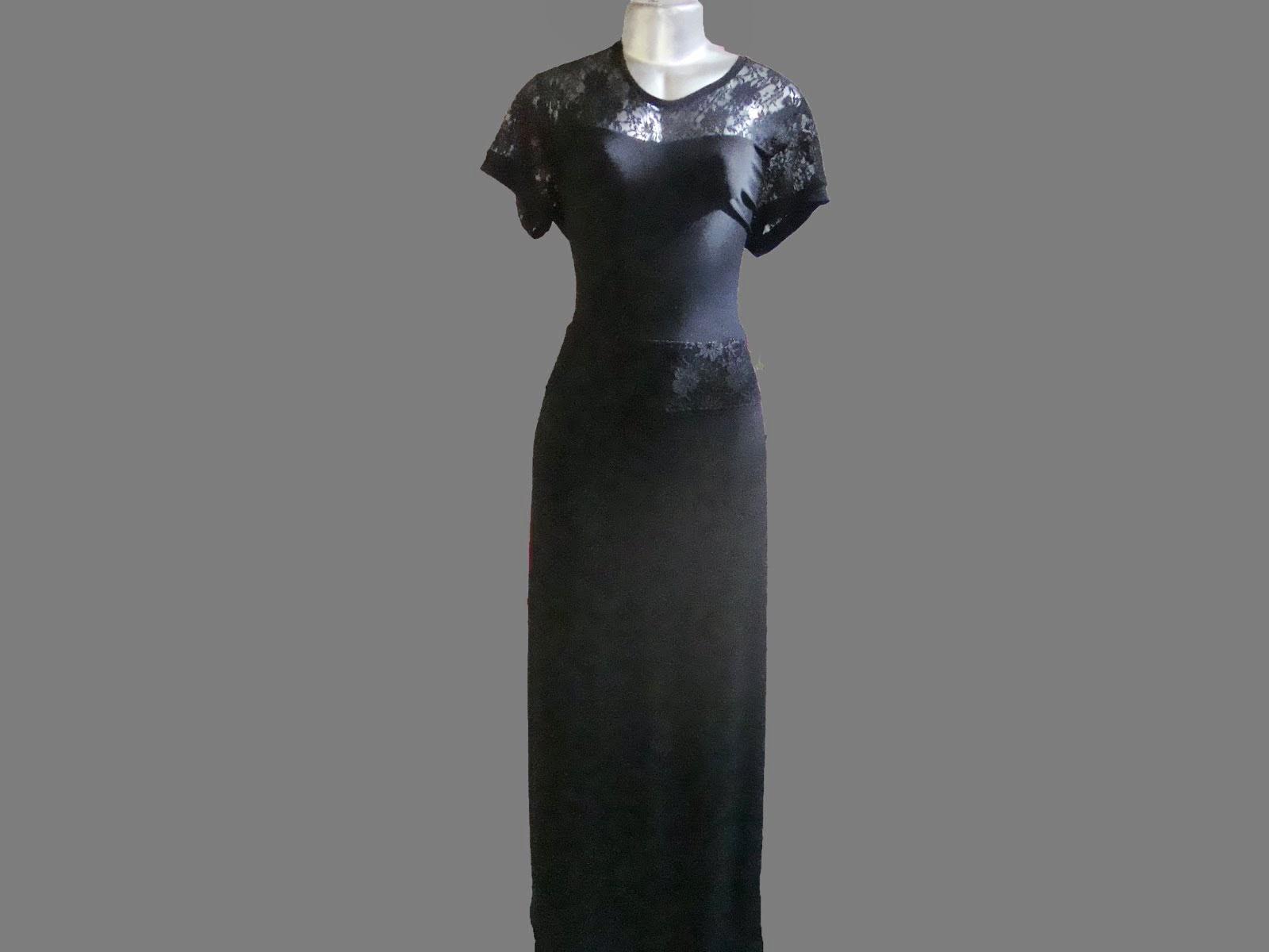 vestido longo de viscocreppe com renda