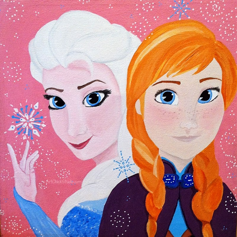 Frozen Anna and Elsa Painting