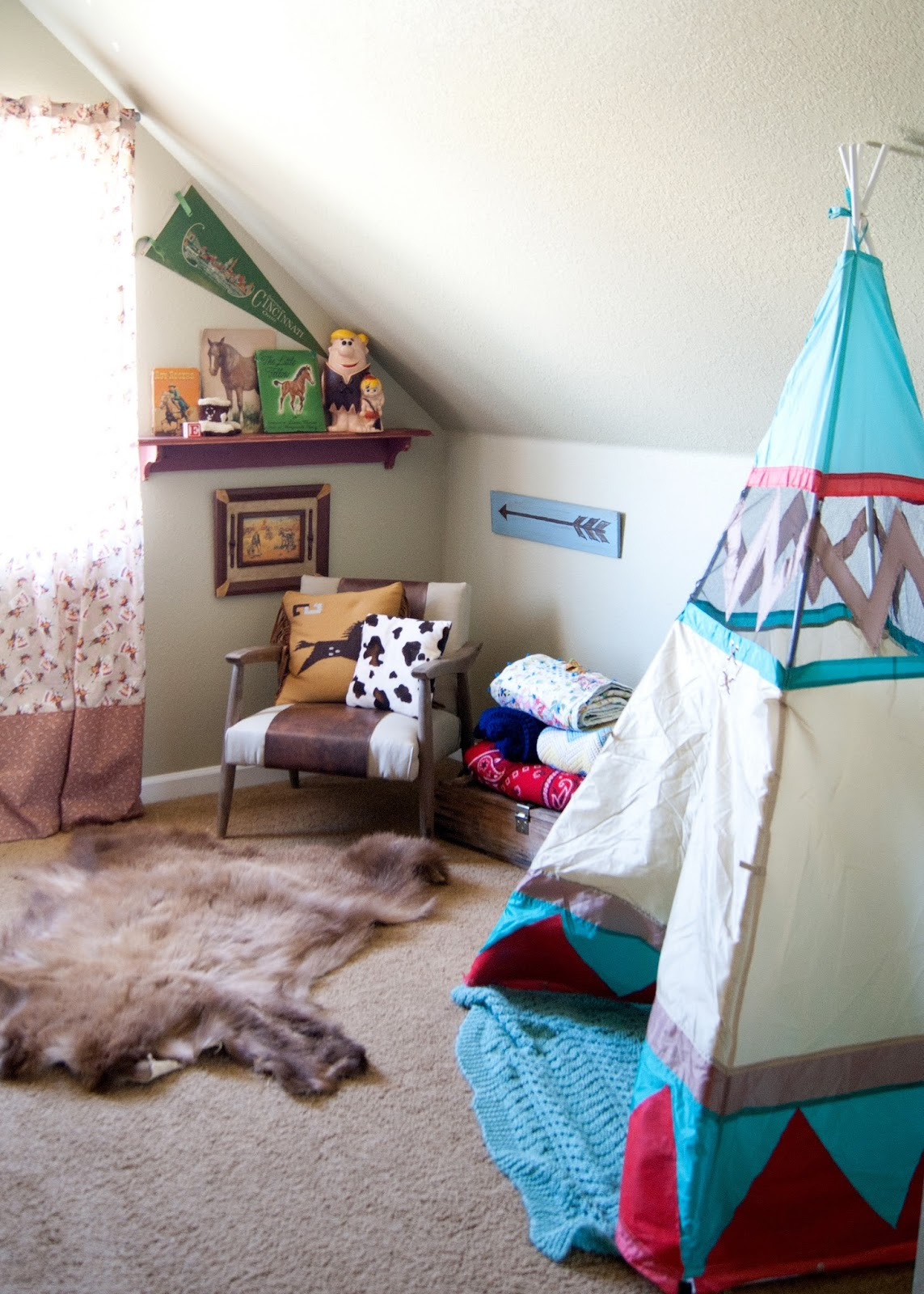Tee pee, mid century chair and western decor