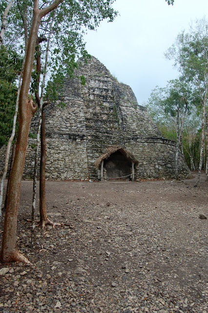 View of the Ancient Mayan Ruin Called La Iglesia (the Church) with its Rounded Corners at Coba, Mexico