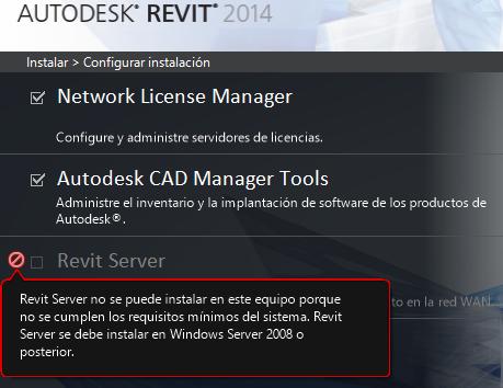 instalación de revit server