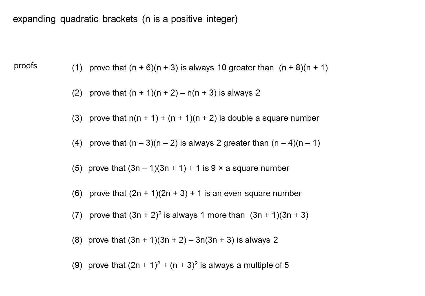 Resourceaholic algebra quadratic proofs median don steward robcynllc Images