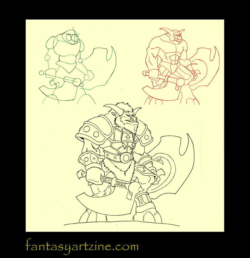 How to draw a Wow tauren warrior