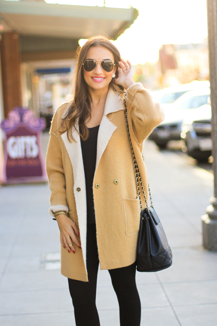 camel coat and asos bucket bag