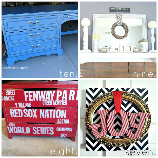 http://www.chasethestar.net, craigslist desk, fall mantel, red sox dresser, mod podge wreath