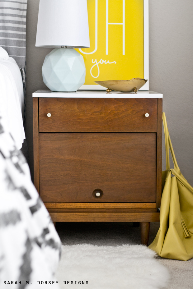 White Mid Century Modern Nightstand Part - 39: Oh You Print Is From Pottery Barn, Turkish Towel And Teal Pillow Are From  Marshalls, And Black And White Pillow Is Marrimekko From Crate And Barrel  (a Few ...