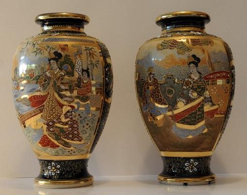 Antiquarian arte coppia vasi giapponesi satsuma primi del 900 for Vasi giapponesi