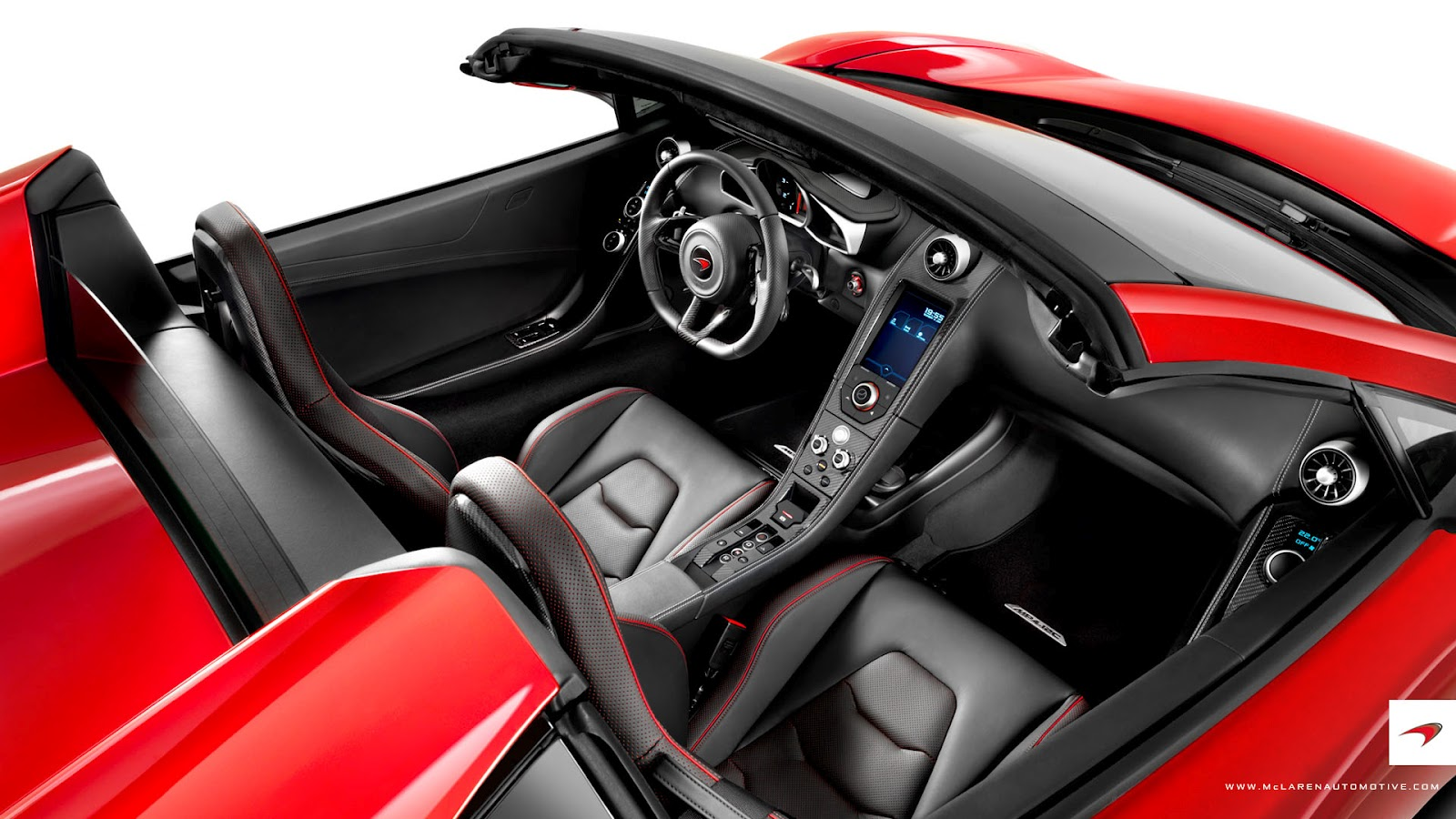 photo of interior of red McLaren 12C Spider convertible supercar