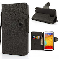 Leather Case Wallet Stand With Card Slot for Samsung Galaxy Note 3 III N9000 N9002 N9005 - Black