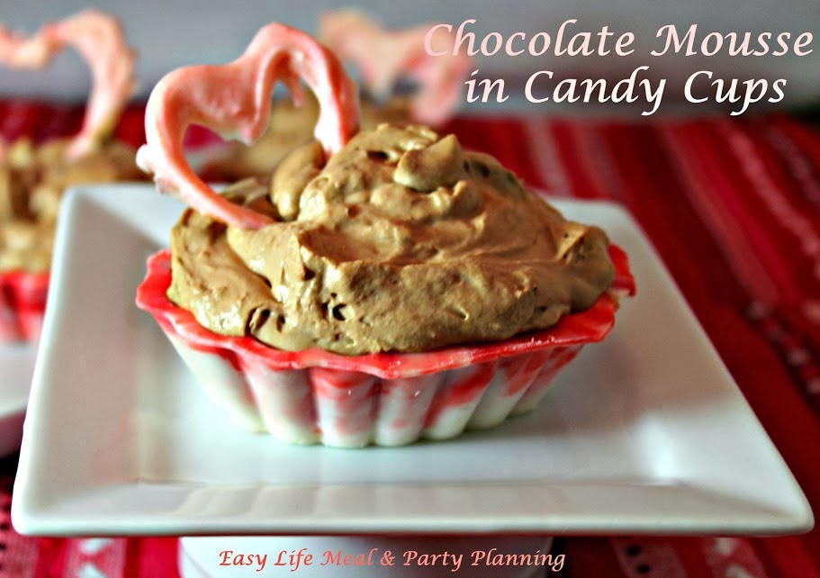 Sweetheart Mousse Cups - Easy Life Meal & Party Planning - Pretty Valentine candy cups filled with light Chocolate Mousse