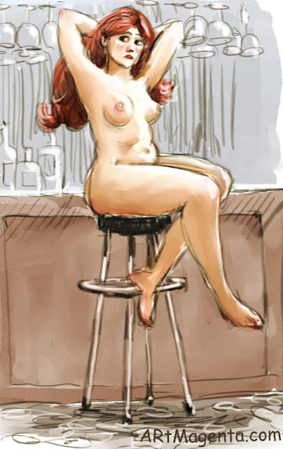The bar stool is a life drawing by artist and illustrator Artmagenta