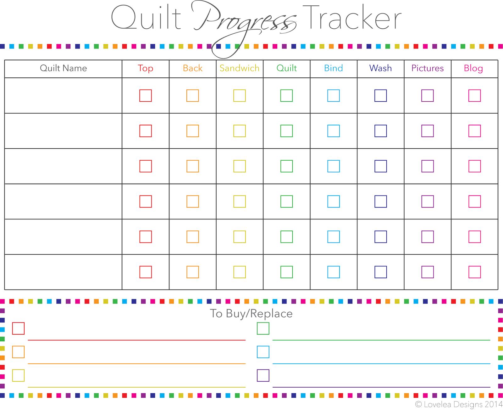 Downloadable Quilt Progress Tracker