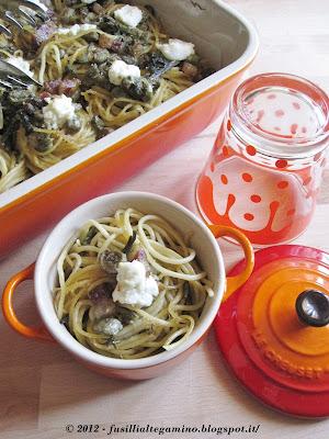 Spaghetti con asparagi, pancetta, fave e pecorino