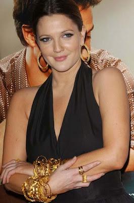 Drew Barrymore Gold Hoop Earrings