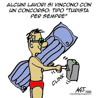 assenteismo, lavoro, turista per sempre, Sanremo, satira vignetta