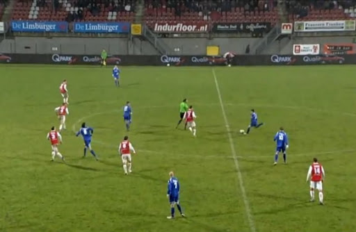 Bart van Brakel shoots to score from halfway line against MVV Maastricht