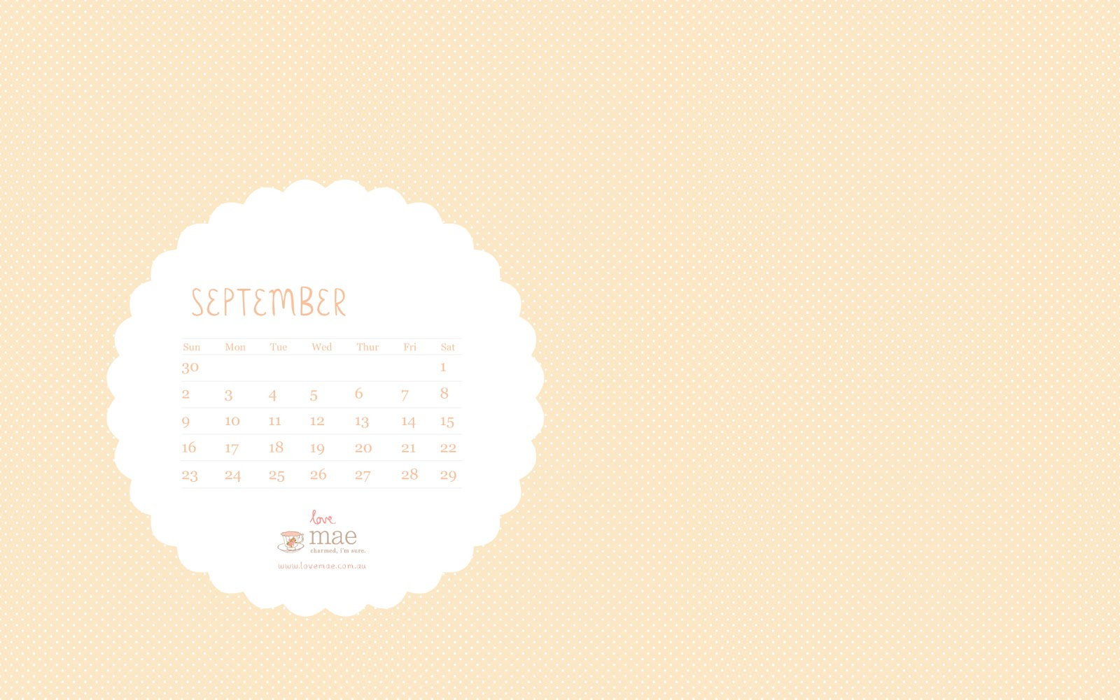 Calendar Wallpaper Love Mae : September free desktop calendar love mae
