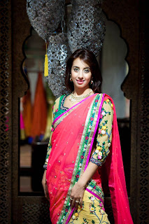 Sanjjanaa Galrani in Silk Half Saree Stunning Desinger Sarees