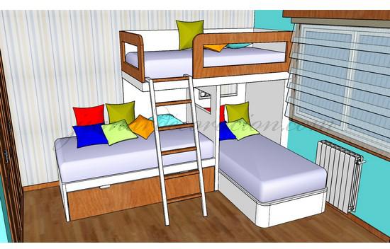 Jumar decoraci n dormitorio juvenil 4 camas for Dormitorio juvenil 2 camas
